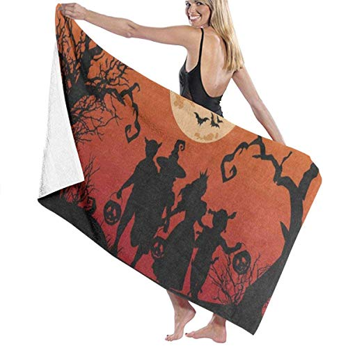 alloween Witch Bat Full Moon Pumpkin Personalized Custom Women Men Quick Dry Lightweight Beach & Bath Blanket Great for Beach Trips, Pool, Swimming and Camping 31