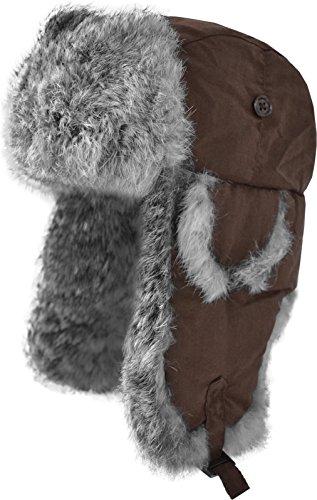 normani normani Fellmütze mit grauem Kaninchenfell und Steppfütterung? Farbe Braun Größe S