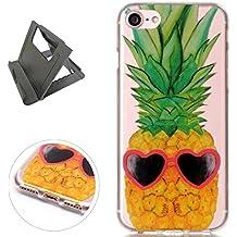 iPhone 7 Funda de gel de Silicona (con Trípode Negro Libre) Keyye Cristal a Prueba de Golpes Suave Jalea de Goma TPU Parachoques Protección Shell Cubierta-Ananas dell'oro