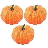 sourcingmap® 3Stk. Plastik Schreibtisch Tisch Kunstgemüse Künstlicher Gemüse Kürbis Orange