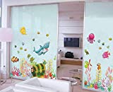 WandSticker4U- Sticker mural Chambre d'enfant Monde sousmarin Poissons Hippocampe de Requin Mer Océan Aquarium | 122x68 cm | Stickers muraux pour Carrelage Autocollant Salle de Bain