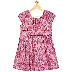 Sambu Girls' 100% Cotton Red color Regular Fit Frock for girls , Casual and party wear dress (Dark Flower Pink, 2-3 Years)