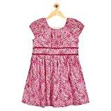 Sambu Girls' 100% Cotton Red color Regular Fit Frock for girls , Casual and party wear dress (Dark Flower Pink, 8-9 Years)