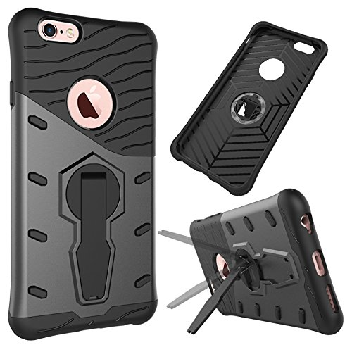 iPhone Case Cover 2 in 1 Neue Rüstung Tough Style Hybrid Dual Layer Armor Defender PC Hartschalen mit Ständer Shockproof Case ​​für das iPhone 6 6s ( Color : Blue , Size : Iphone 6 6s ) Black