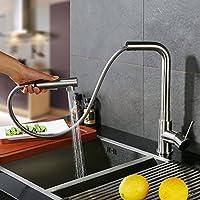 HOMELODY 2 funciones Grifo de cocina extraíble 360° Giratorio Grifo de Fregadero Monomando de Fregadero Grifería cocina Agua Fría y Caliente Cromado