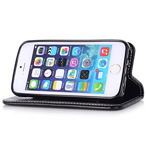 """iPhone 6 / 6s Cuir Coque,EVERGREENBUYING - Gaufrage peau Étui Housse en Cuir IP6 IP6S avec Stand et Rangement Cartes Case Cover pour iPhone 6 / 6s 4.7"""" Gris Noir"""