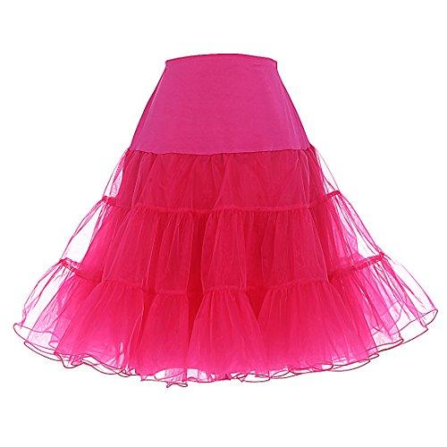 Dresstells 1950 Petticoat Reifrock Unterrock Petticoat Underskirt Crinoline für Rockabilly Kleid Rose L