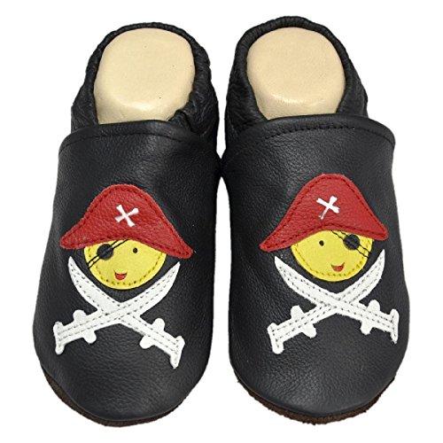 Blaue liya's-modèle chaussons chaussures#580 pirate noir Noir - Noir