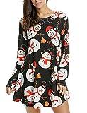 Trudge Damen Weihnachtsbäume Weihnachtsmann Retro Vintage Skaterkleid Basic Kleid Swing Festlich Kleid Herbst Winter Schleife a Linie Blumen Kleid (EU 42(Herstellergröße: XL), Schwarz+Schneemann)