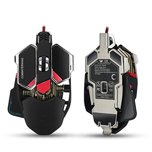Combaterwing - Ratón para Gaming LED Óptico con 10 Botones Conectar el Juegos 4800 DPI(negro) … (Juegos Pc De)