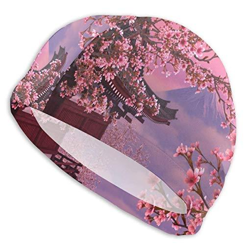 Preisvergleich Produktbild mchmcgm Schwimmkappe for Women Men Japanese Cherry Blossom Mt.Fuji Long Hair Polyester Spandex Swimming Cap for Girls Teens