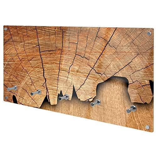 banjado Wandgarderobe aus Echtglas | Design Garderobe 80x40x6cm groß | Paneel mit 5 Haken | Flurgarderobe für Jacken und Mäntel | Garderobenleiste mit Motiv Holz