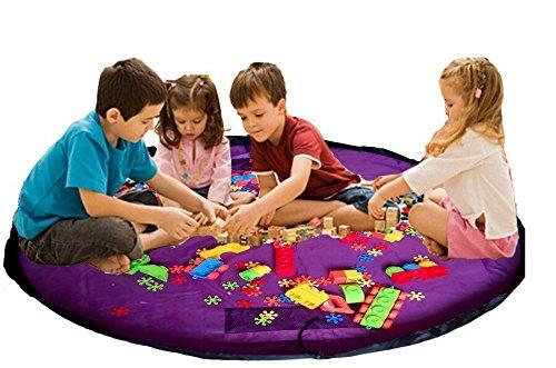 """Agooding bambini 152,40 cm (60"""") diametro Play-Tappeto gioco per bambini, Contenitore Lego Costruzioni, Scatola per giocattoli, 60 inch (Viola)"""