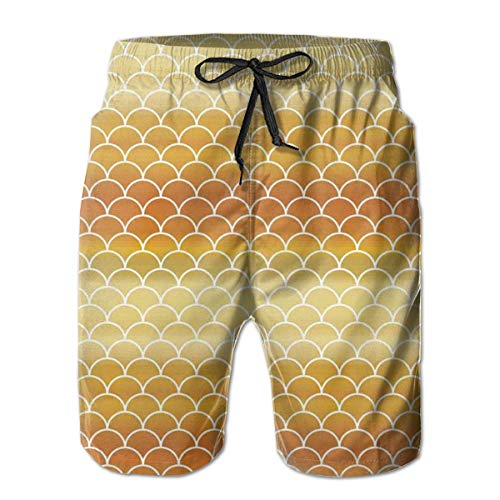 MIOMIOK Men Swim Trunks Beach Shorts,Rising Sun Concept Fish Scale Pattern Sunburnt Transition Color,Quick Dry 3D Printed Drawstring Casual Summer Surfing Board Shorts XL -