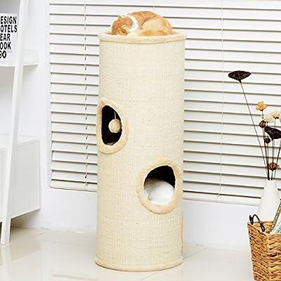 PawHut 97cm Height Cat Tree Scratching Barrel Activity Center Condo Kitten Bed Scratcher Climbing Climber Play House w/ 4 Holes & Hanging Toy
