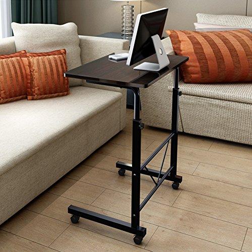 73-92 cm Altura Ajustable Mesa Portátil para Computadora Escritorio de Pie Móvil con Rueda Carrito para Cama y Sofá (Negro)