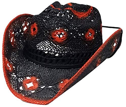 143bd2d3deb20 Modestone Women s Open Weave Straw Cappello Cowboy Black Orange