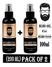 Grandeur (PACK OF 2) Mooch And Beard Oil For Growth For Men with Vitamin E and Argan Oil