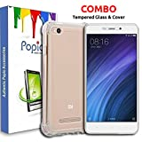#8: POPIO™ Tempered Glass Screen Protector and Shock Proof Protective Soft Transparent Back Case Cover Combo For Xiaomi Redmi 4a