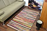 Extra Large Medium Small AHOC Fair Trade 100% Recycled Cotton Chindi Rug Mult...