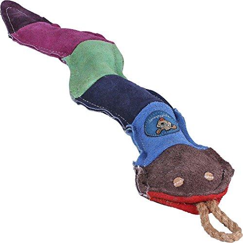 Knuffelwuff 13881-002 Bunte Schlange aus Wildleder Natur Hundespielzeug, 47 cm, bunt