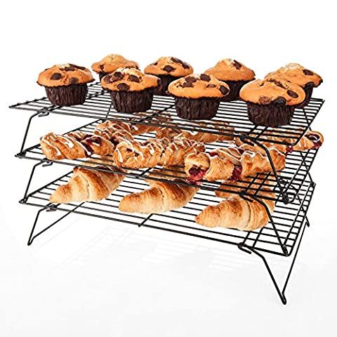 Savisto 3 Tier Cake Cooling Rack | Stackable Stainless Steel Non-Stick Wire Cooling Stand for