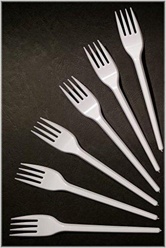Lot de 200 fourchettes jetables blanches 165 mm, utilisation alimentaire, en polystyrène / fourchettes en plastique