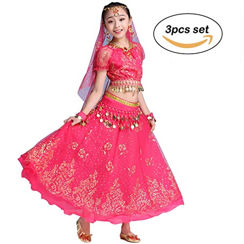 Magogo Mädchen Bauchtanz Kleid Bollywood Indian Folk Kids Arabian Performance Kostüm Karneval Outfit (130-155cm/51-61in, (Folk Tanz Kostüm Kinder)