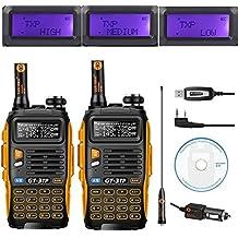 2 x Baofeng Pofung GT-3TP Tri-Power 8/4 / 1W radio de dos vías transceptor, doble banda 136-174 chip / 400-520 MHz verdadera 8W de alta potencia de radio de dos vías, con los 23CM antena de alta ganancia, mejorada + 1 x Cable de programación