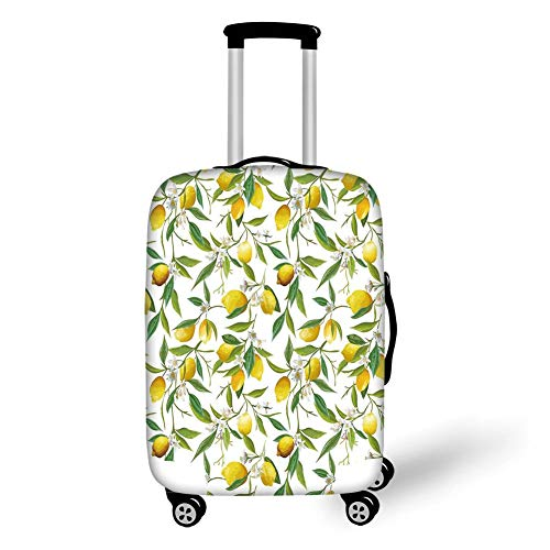 Travel Luggage Cover Suitcase Protector,Nature,Flowering Lemon Woody Plant Romance Habitat Citrus Fresh Background,Fern Green Yellow White,for Travels 19x27.5Inch