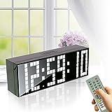 Bestland Große LED Uhr Digitale Wanduhr Jumbo großen Zahlen Display Schreibtisch Tischuhr mit Fernbedienung, Snooze,Alarm,Countdown,Temperatur (Weiß)