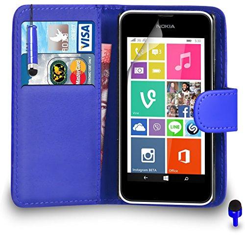 Nokia Lumia 530 Prämie Leder Blau Brieftasche Flip Fall Abdeckung Beutel + Mini Stylus Pen + Blau 2 IN 1 Staubstopper + Bildschirm Beschützer & Polieren Tuch BY SHUKAN®, (Brieftasche Blau)