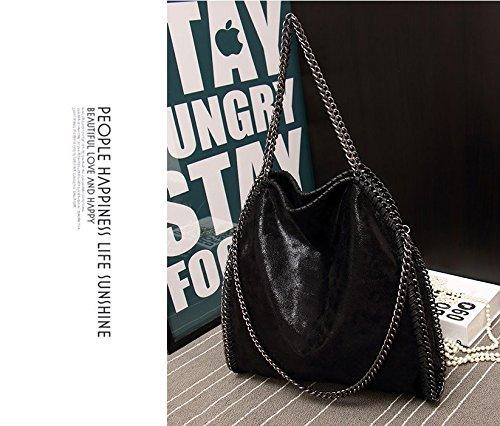 Hosiare 1X Le donne annata della borsa del cuoio del sacchetto di spalla del Tote della cartella,nero Nero
