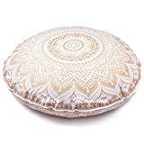 maniona 81,3cm Gold Ombre Mandala Große Bodenkissen handgefertigt Lounge Sessel Ottoman Kissenbezug indischen Übergroße osmanischen Pouf quadratisch Kissen