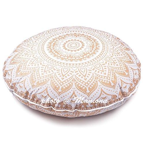 maniona 81,3cm Gold Ombre Mandala Große Bodenkissen handgefertigt Lounge Sessel Ottoman Kissenbezug indischen Übergroße osmanischen Pouf quadratisch Kissen (Outdoor-der Modernen Osmanischen)