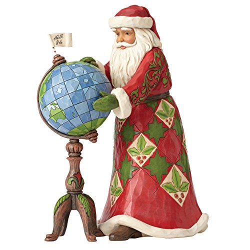 Enesco Hearwood Creek By Jim Shore Hwc Babbo Natale Programma su Mappamondo, Pvc, Multicolore, 16x19x23.5 cm - Enesco Natale