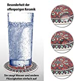 LAZARAH® Design Untersetzer Set für Gläser, Tassen, Vasen, saugfähige Keramik mit Korkrücken, Boho, Mandala, orientalischer marokkanischer Stil - 2
