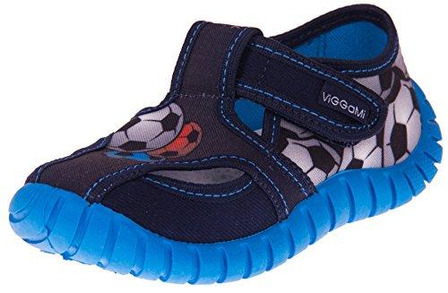 Viggami Jungen Hausschuhe mit Klettverschluss Tubis (Blau/Bälle, 30 EU)