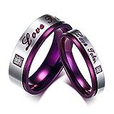 Beglie 2 Stück Edelstahl Damen Ringe Zirkonia Ringe Paar mit Gravur Lila Silber Trauringe für Frauen Männer Frau:54 (17.2) & Mann:62 (19.7)