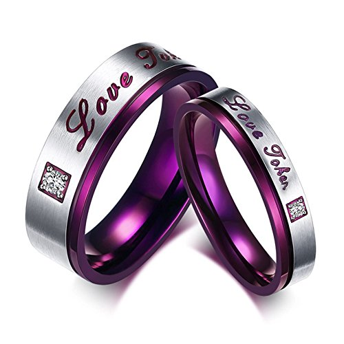 Beglie 2 Stück Edelstahl Trauringe Gold Edelstahl Ringe Set Gravur Lila Silber Paar Ringe Set für Frauen Männer Frau:60 (19.1) & Mann:67 (21.3)