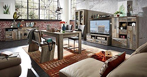 Wohnzimmerschrank, Wohnwand, Schrankwand, Anbauwand, Fernsehwand, Wohnzimmerschrankwand, Wohnschrank, Driftwood-Nb., Beleuchtung - 2