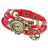 Taffstyle Damen-Armbanduhr Retro Vintage Geflochten Leder-Armband mit Charms Anhänger Analog Quarz Uhr Anker Gold Rot
