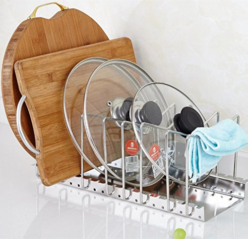 Adjustable Kitchen Houseware Pan Pot Lid Organizer,Homeself Cabinet , Pot and Pantry Organizer Rack(Silver)