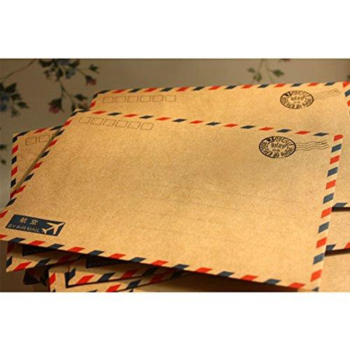 Kicode 10 Stück Blätter Antike Kaffee-Kraft Luftpost Umschlag Briefpapier 7 * 5