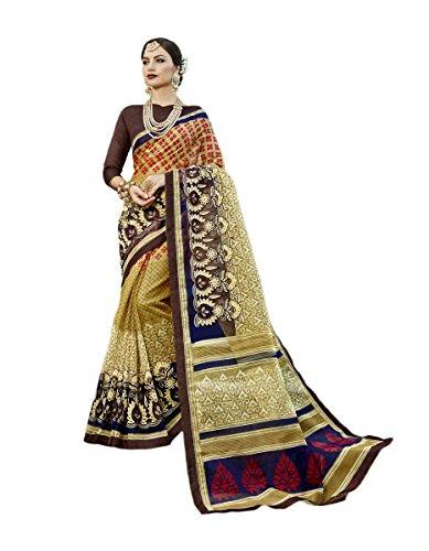 KIMANA Indian Designer Ethnic Bollywood Traditional Super Net Cotton Saree Sari S3055 Super Net Saree