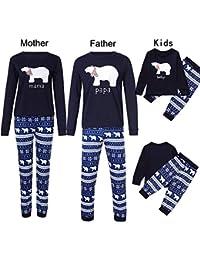 K-youth Conjunto de Pijamas Ropa Familiar Navidad Fiesta Oso Impresión Camisetas Manga Larga Blusa Tops y Pantalones de Rayas Padre Madre Hijo Ropa de Dormir de Navidad para Familia