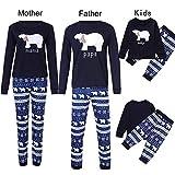 K-youth Conjunto de Pijamas Ropa Familiar Navidad Fiesta Oso Impresión Camisetas Manga Larga Blusa Tops y Pantalones de Rayas Padre Madre Hijo Ropa de Dormir de Navidad para Familia(Mamá, M)