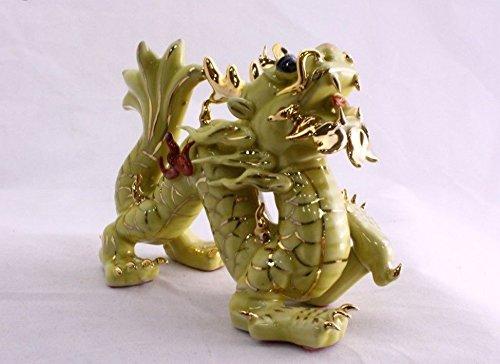 Feng Shui Dragon-Handgefertigt und Verziert chinesischem Porzellan, Figur 5043. Height x Width x Depth: 3.9 x 5.3 x 2.4 inches Gelb - Figuren Porzellan Chinesische