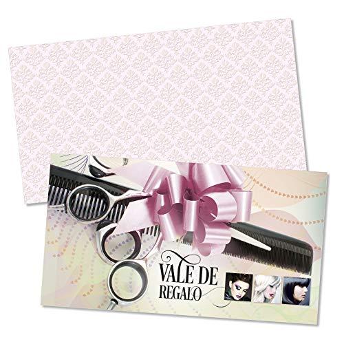 25 tarjetas de regalo de alta calidad + 25 sobres con motivos para barbería peluquería peluquero peluquera estilista portada afinada con brillo intenso. K1267E