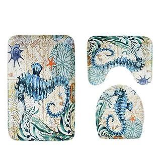 ACVIP 3 Piece Sea Animals Print Bath Rug Set Bathroom Rug Pedestal Mat with Lid Toilet Cover Anti Slip (Sea Horse)